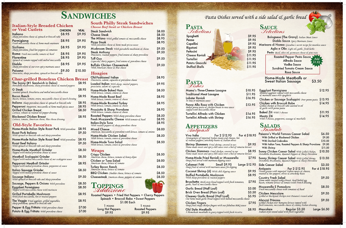 Springfield Family Restaurant Menu